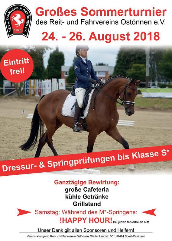 Großes Reitturnier in Ostönnen vom 24. bis 26. August 2018